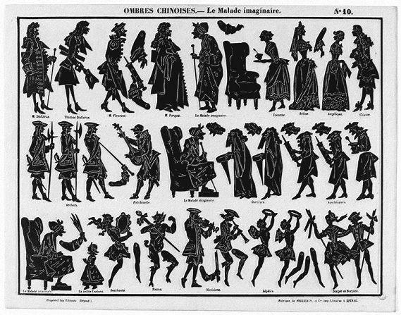Le malade imaginaire Séraphin planche d`ombres théâtre d`ombres ombres chinoises silhouettes marionnettes