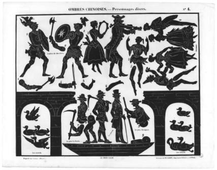 Le pont cassé personnages Séraphin planche d`ombres théâtre d`ombres ombres chinoises silhouettes marionnettes
