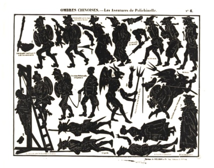 Les aventures de Polichinelle Séraphin planche d`ombres théâtre d`ombres ombres chinoises silhouettes marionnettes