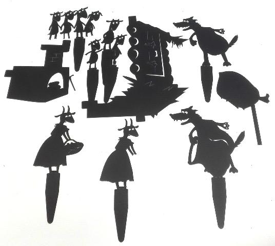 le loup et les sept chevreaux en ombres chinoises, theatre d`ombres, silhouettes, marionnettes