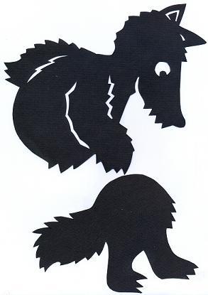 loup en theâtre d`ombres ombres chinoises silhouette marionnette