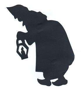 vieille femme en théâtre d`ombres ombres chinoises marionnettes, silhouettes