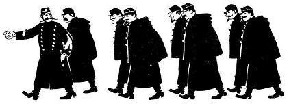 policiers, troupe, le secret du manifestant, fau, cabaret du chat noir, ombres chinoises, theatre d`ombres
