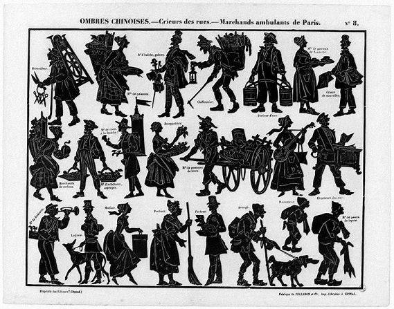marchands ambulants Séraphin planche d`ombres théâtre d`ombres ombres chinoises silhouettes marionnettes