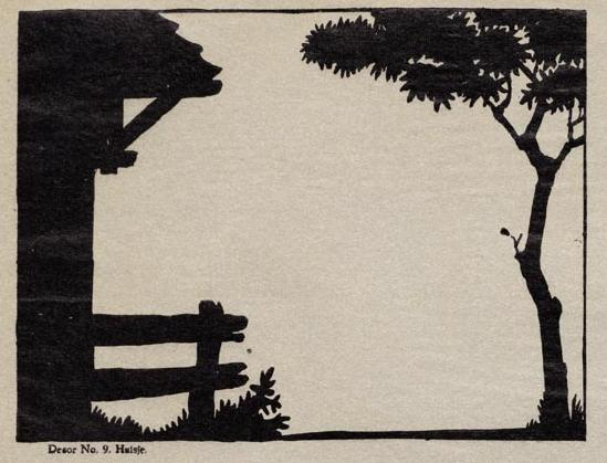 cour de ferme décor en théâtre d`ombres chinoises silhouettes