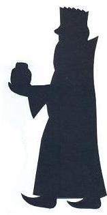 Melchior debout roi mage bible nativité en théâtre d`ombres ombres chinoises silhouettes marionnettes