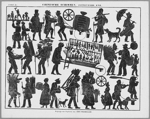 vieux métiers planche d`ombres théâtre d`ombres ombres chinoises silhouettes marionnettes