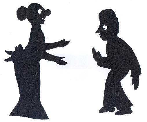 la mère michel personnages en théâtre d`ombres chinoises silhouettes