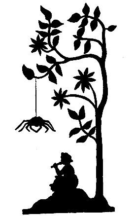 jeune fille arbre araignée en ombres chinoises theatre d`ombres silhouettes marionnettes