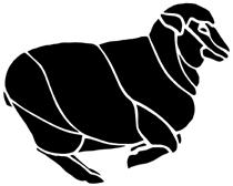 mouton en théâtre d`ombres chinoises silhouette marionnette