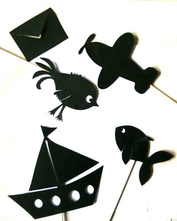 oiseau et poisson en théâtre d`ombres ombres chinoises marionnettes silhouettes