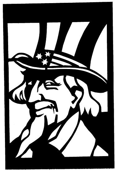 USA Oncle Sam Uncle Sam en théâtre d`ombres ombres chinoises marionnettes silhouettes