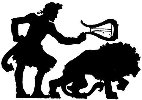 Orphée et le lion, mythologie, théâtre d`ombres, ombres chinoises, marionnettes, silhouettes, free
