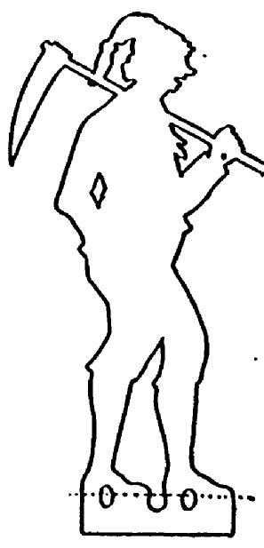 piocheur en ombre chinoise silhouette