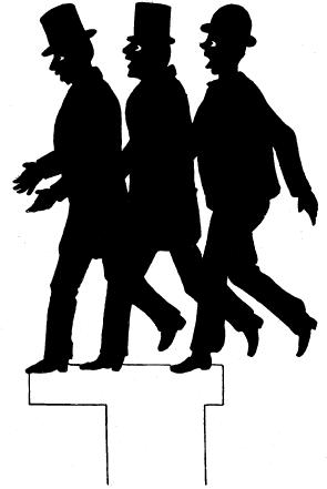 passants, flaneurs, gruupe, hommes, lemercier de neuville, ombres chinoises, theatre d`ombres, silhouettes, marionnettes