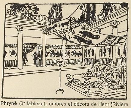 phryné, ombres chinoises, theatre d`ombres, chat noir, décor