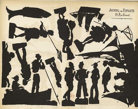 planche d`ombres Bretagne, bord de mer, ombres chinoises, theatre d`ombres, silhouettes, marionnettes