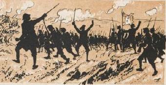 les Poilus à travers les âges par Henriot défilé d`ombres chinoises théâtre d`ombres silhouettes marionnettes guerre de 1914/1918