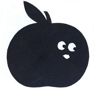 pomme fruit en theatre d`ombres ombre chinoise silhouette marionnette