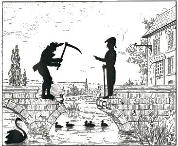 hommes, le pont cassé, Paul Eudel, ombres chinoises, pièce, théâtre d`ombres, saynète, silhouettes, marionnettes