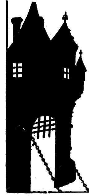 pont levis décor en théâtre d`ombres chinoises silhouettes