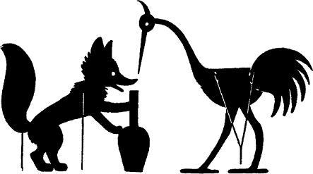 le renard et la cigogne fable en ombres chinoises theatre d`ombres silhouettes marionnettes