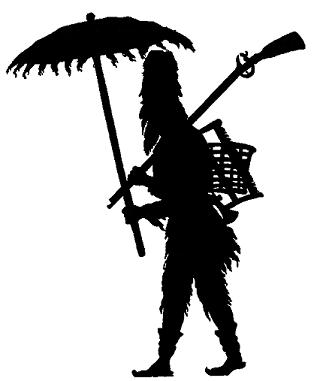 Robinson homme en théâtre d`ombres silhouettes ombres chinoises marionnettes