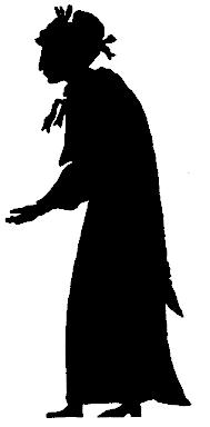 femme en théâtre d`ombres silhouettes ombres chinoises marionnettes