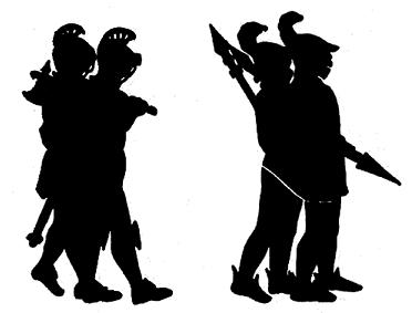 soldats gardes en theatre d`ombres ombres chinoises silhouettes marionnettes free
