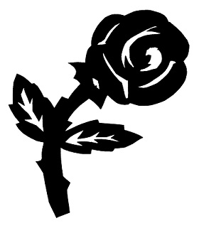 rose fleur en théâtre d`ombres chinoises silhouette marionnette