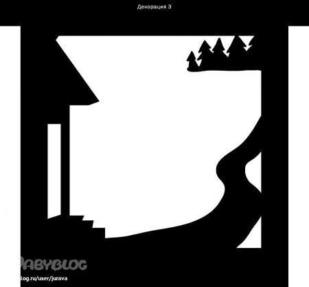 foret, maison décor en ombres chinoises theatre d`ombres silhouettes marionnettes