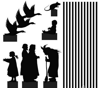 baba yaga, souris, fillette, homme, femme, couple, oies sauvages, oiseaux en ombres chinoises, theatre d`ombres, silhouettes, marionnettes, free, russes, puppentheater, chinese shadows