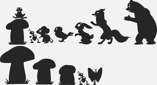 souris, papillon, lièvre, moineau, grenouille, ours, fourmi, en ombres chinoises, silhouettes, marionnettes
