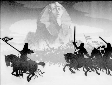 Croisés, chevaliers, Sphinx, ombres chinoises, theatre d`ombres, chat noir, marionnettes, silhouettes, free