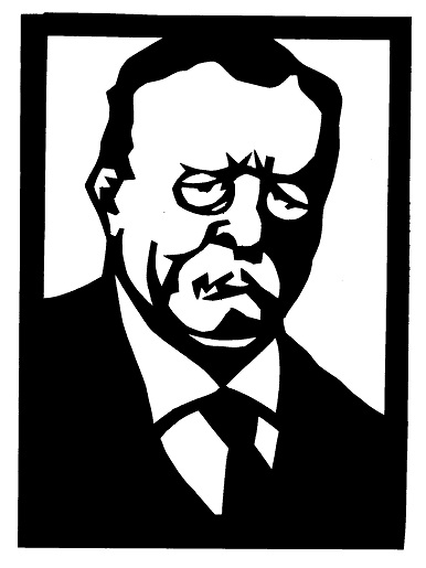 Theodore Roosevelt visage personnage homme théâtre d`ombres ombres chinoises marionnettes silhouettes