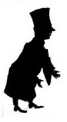 homme juge magistrat en theatre d`ombres ombres chinoises silhouettes marionnettes