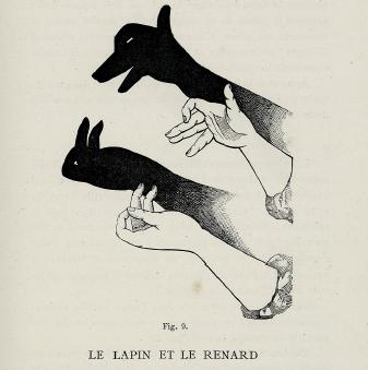 renard et lapin, victor effendi bertrand, ombromanie, en ombres chinoises, theatre d`ombres, silhouettes, marionnettes