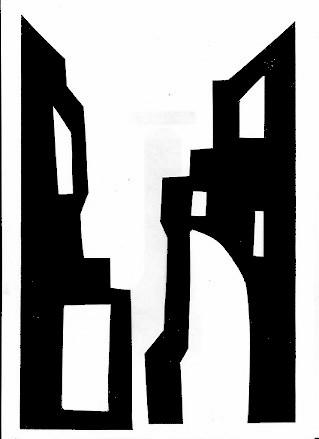 ville façades maisons décors theatre d`ombres ombres chinoises marionnettes silhouettes