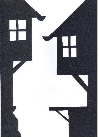 décor de ville en théâtre d`ombres chinoises silhouettes