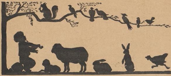violoniste et animaux, scène d`ombres chinoises, silhouettes, marionnettes, free
