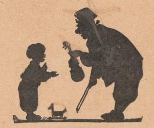 enfant et son père, violon, scène d`ombres chinoises, silhouettes, marionnettes, free
