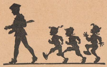 violoniste et enfants, scène d`ombres chinoises, silhouettes, marionnettes, free